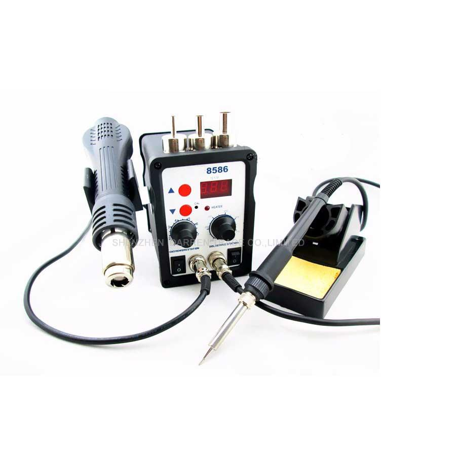 1pc 220V 8586 2 in1 Rework Station Hot Air Gun+Electric Soldering Iron Constant Temperature Anti Static Electric Welding Table 80w welding table at938d at980d anti static thermostatic temperature control advanced welding table 60w