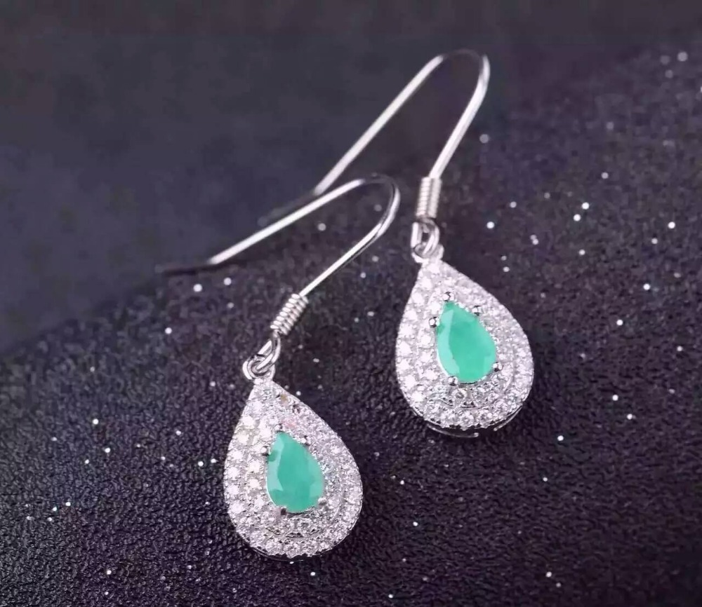 natural green emerald drop earrings 925 silver Natural gemstone earring women elegant water fine drop earrings for anniversary pair of chic rhinestoned water drop earrings for women