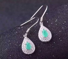 natural green emerald drop earrings 925 silver Natural gemstone earring women elegant water fine drop earrings for anniversary