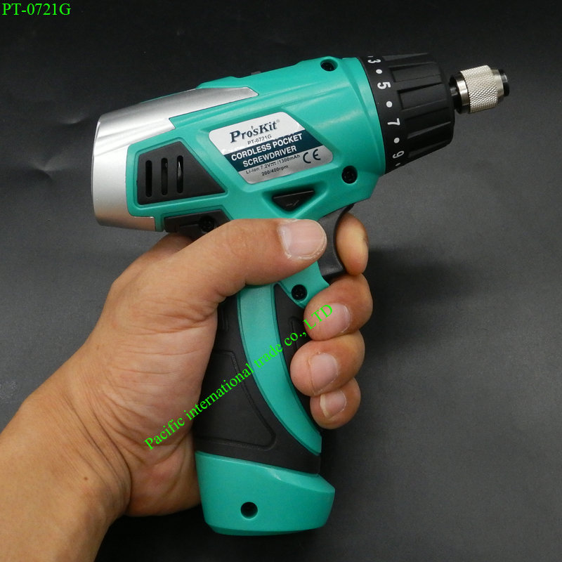 ФОТО Electric Screwdriver Rechargeable Li-ion battery Cordless Drill Driver Electronic Screwdriver(230V AC 50HZ)ProsKit PT-0721G