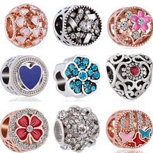 Crystal Hollow Enamel Flower Four-leaf Clover Minnie Mouse Love Heart Charms Beads Fit Pandora Bracelets for Women DIY Jewelry(China)