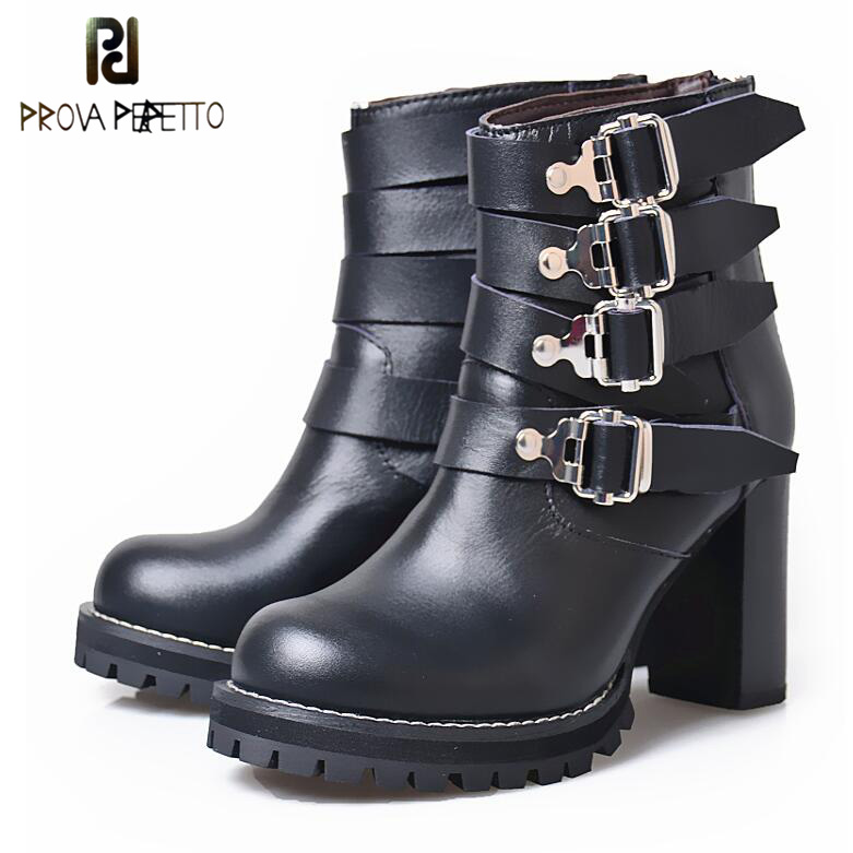 Prova Perfetto Square High Heel Round Toe Chelsea Short Boots Women Metal Buckle Belt Genuine Leather Fashion Ankle Boots prova perfetto winter women warm snow boots buckle straps genuine leather round toe low heel fur boots mid calf botas mujer