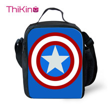 Thikin Avengers Marvel Hero Lunch Bags for Teenagers Boys Fashion Portable Cooler Box Cartoon Pattern Tote Picnic Pouch