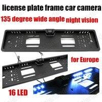 16 LED Light Waterproof 135 Degree Wide Angle EU Car License Plate Frame Rear View Camera