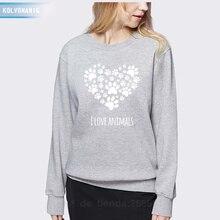2019 Winter Womens Hoodies Long-sleeved Pullover Casual I Love Animals Heart-Shaped Cat Footprints Printed Sweatshirts Ladies