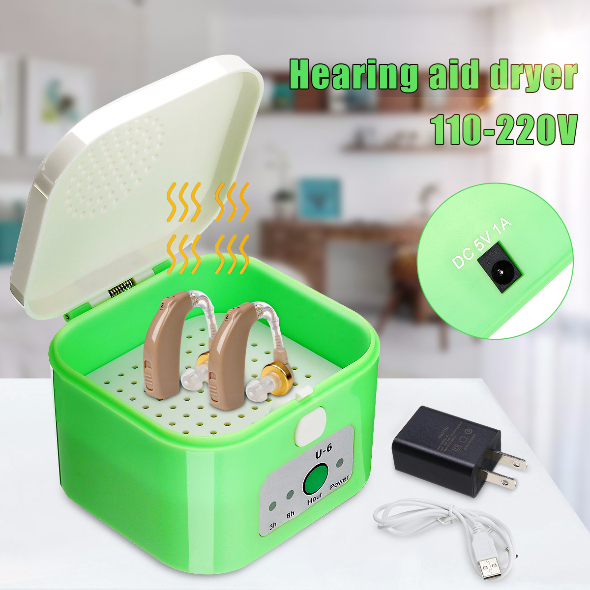 Digital Hearing Aid Dryer Electric Drying Box Dehumidifier 3-6 Hour Timer Moisture Proof Maintain Hearing Aid Dry Case