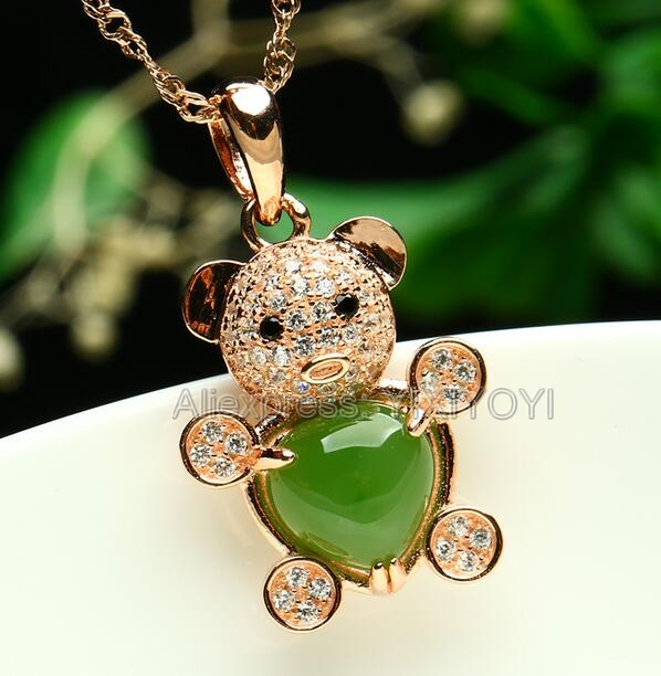 925 Silve Gold Natural Green HeTian Jade Beads Inlay Cute Bear Lucky Pendant Free Chain Necklace