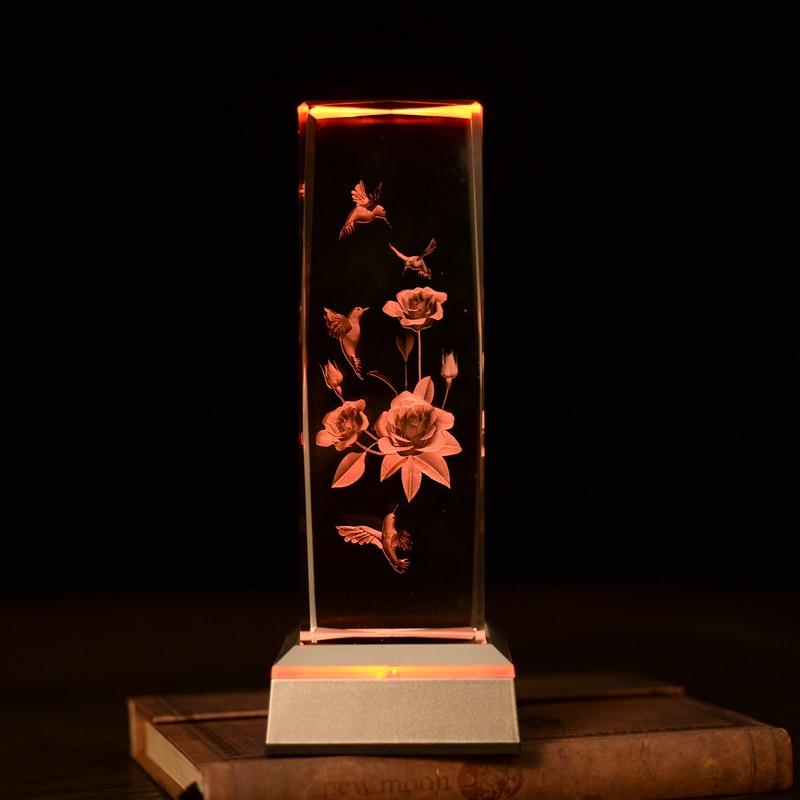 WoodPecker Flower laser inni bordlamper Fantastisk 3D nattlys Baby - Nattlys