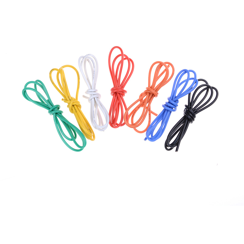 1M Gauge 14 AWG Silicone Rubber Stranded Wire, Electric Cable, Led Electric Wire Cable Red Black 7 Colors High Quality