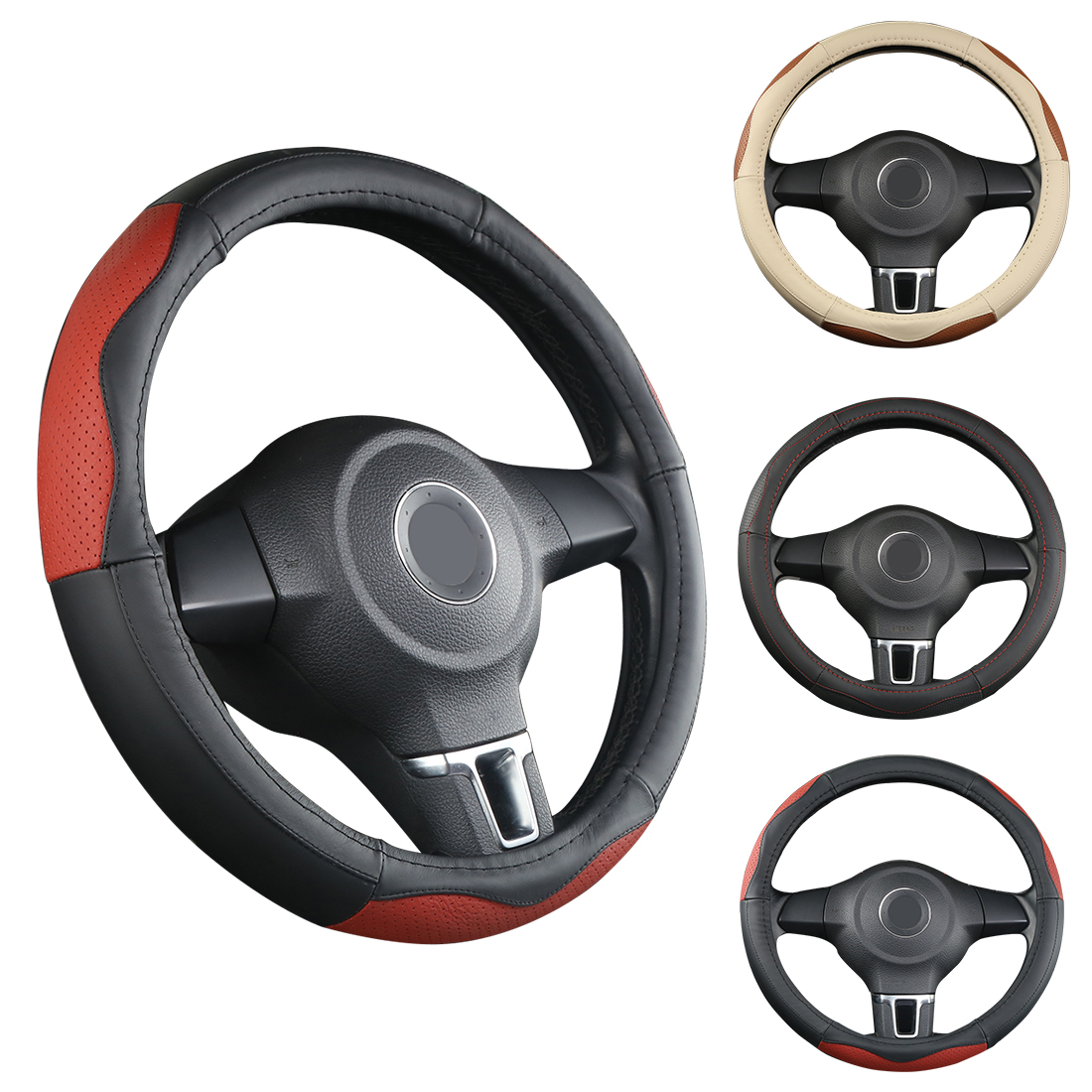 Dewtreetali Car Steering Wheel Cover Genuine Leather Elegant 38cm Car Steering Wheel Protector Car-styling Interior Accessories