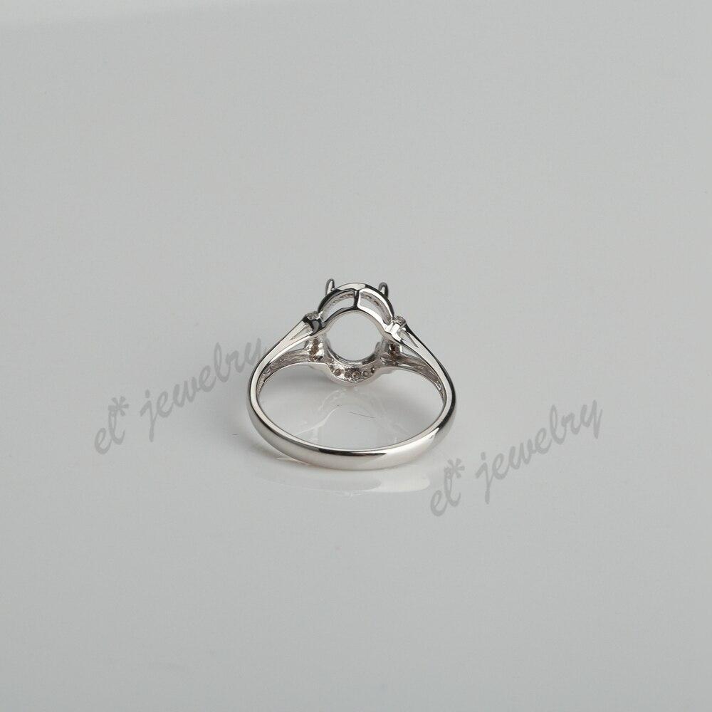 Природные Алмазы SOLID 18 К белого золота обручальное кольцо 6.5x8.5 м Овальный полу крепление ювелирных изделий Установка