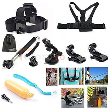 8 in1 Chest/Head Belt Mount + Floating Handle Grip shoot Storage Pouch &Surface J-Hook Gopro Hero4 Black/Silver Hero HD 3+/3/2/1