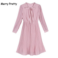 Merry Pretty Autumn Spring Pink Dress Women Long Sleeve Pleated Chiffon Dresses Elastic Waist Bow Neck
