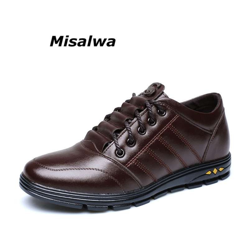 Misalwa 2018 Brand Men Casual Fashion Breathable Leather Height Increase Elevator Shoes Spring Lace Up Men 6CM Zapatos Hombre