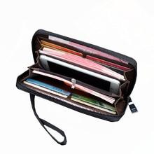 New Men Wallets Wrist Strap PU Leather Long Wallet portomonee Business Long Male Zipper Clutch Purse Men's Luxury Wallet