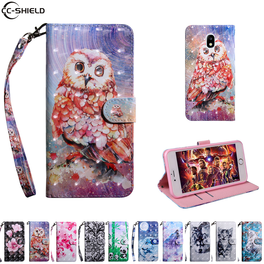 Flip Case For <font><b>Samsung</b></font> Galaxy J3 J 3 2017 SM J330 J330F J330F/DS <font><b>J330FN</b></font> SM-J330F/DS Case Mobile Phone Leather Cover Soft Wallet image