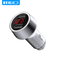 MEIDI Car Charger Digital Display Dual USB Port For IPhone Xiaomi Samsung 3 6A Fast Charge