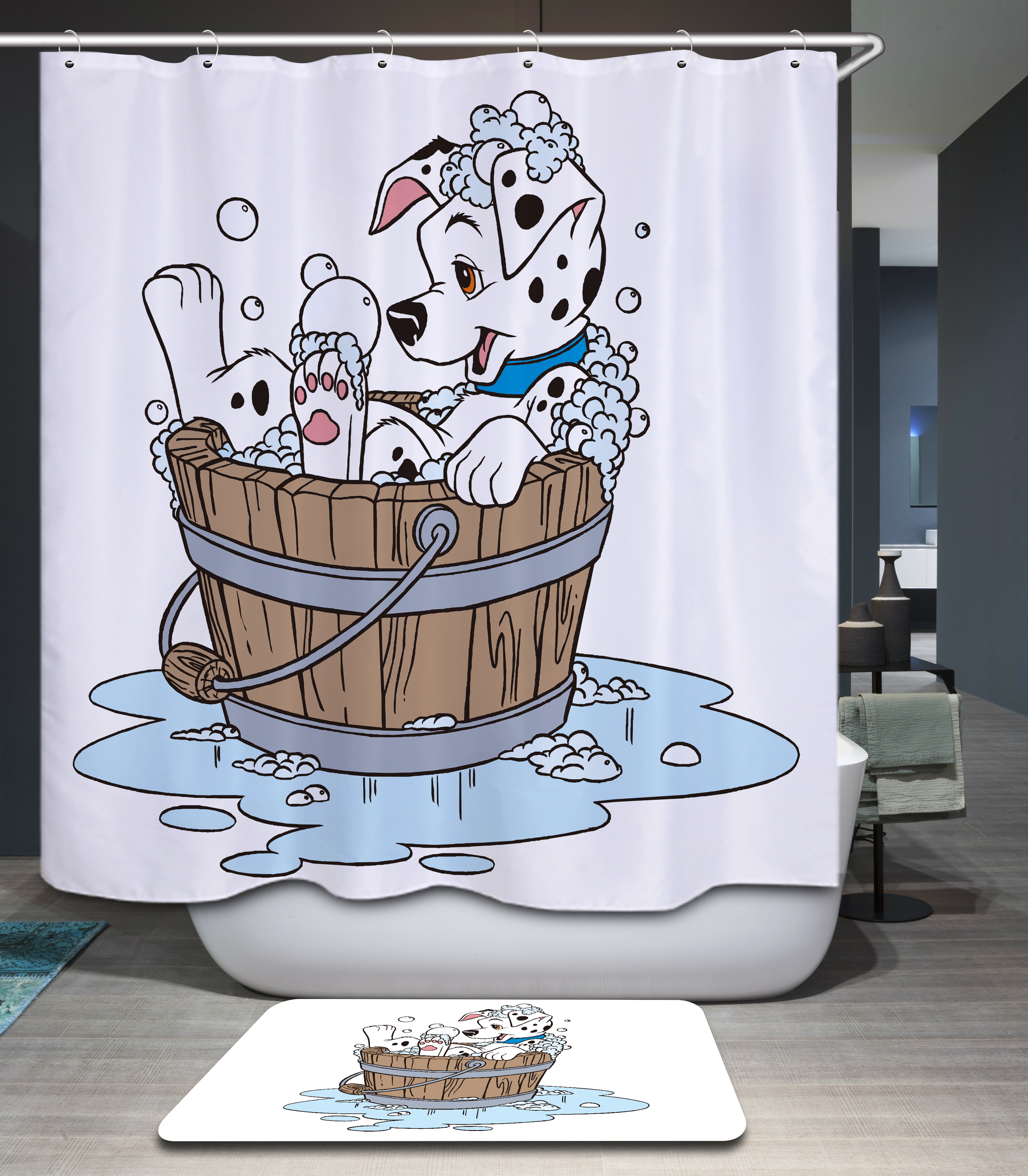 Funny Cartoon Pattern Waterproof Shower Curtain Cleaning