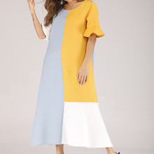 Casual  Women Maxi Dress Summer Patchwork O Neck Half Sleeve Trumpet Sleeves Loose Dress white half sleeve maxi dress