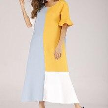 Casual  Women Maxi Dress Summer Patchwork O Neck Half Sleeve Trumpet Sleeves Loose Dress sky blue half sleeve maxi dress