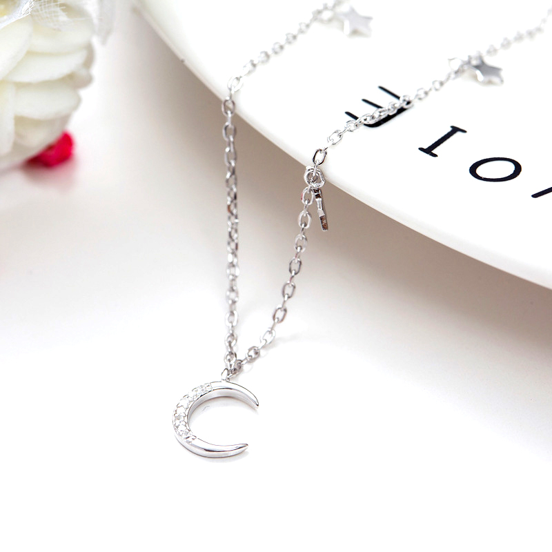 NEW Silver 925 Jewelry 925 Sterling Silver Real Women Choker Fine Moon Stars Charms Austria Crystal Zirconic Necklace