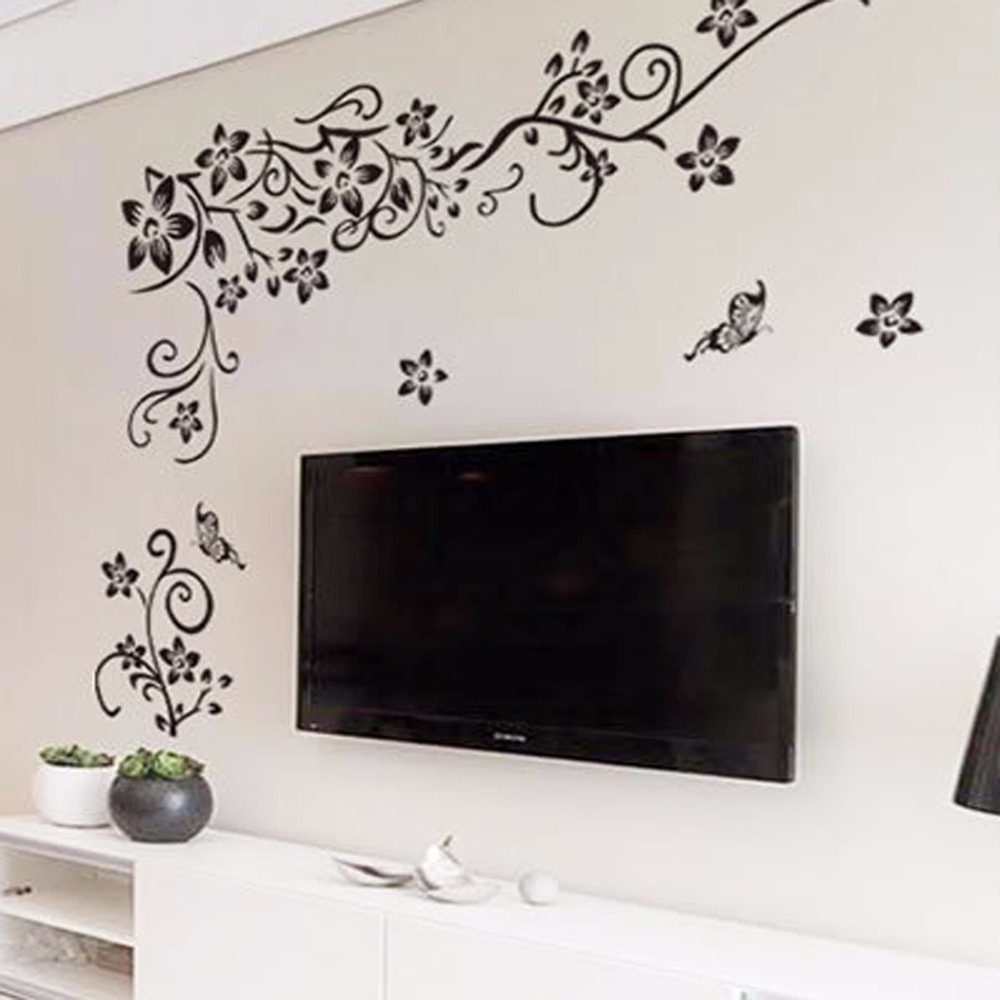 Hot diy wall art decal decoration fashion romantic flower for Wall art wallpaper