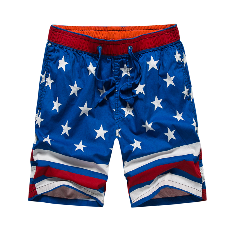 2018 Summer shorts men outdoor sports beach shorts striped flag printed anti-sweat bermuda swim surf board shorts boardshorts
