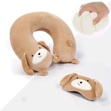 Sale 7 styles U-shaped Pillow Memory Foam Plush Travel Cartoon Animal Car Headrest Doll pillow + eye mask
