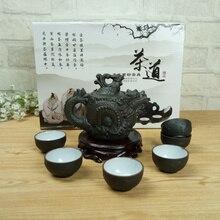Kung Fu Tee-Set Chinesische Keramik Teekanne 210 ml 1 Drachen Gongfu Tee topf + 6 Tasse Set Chinesische Teezeremonie Kleine Kapazität Ideales Geschenk