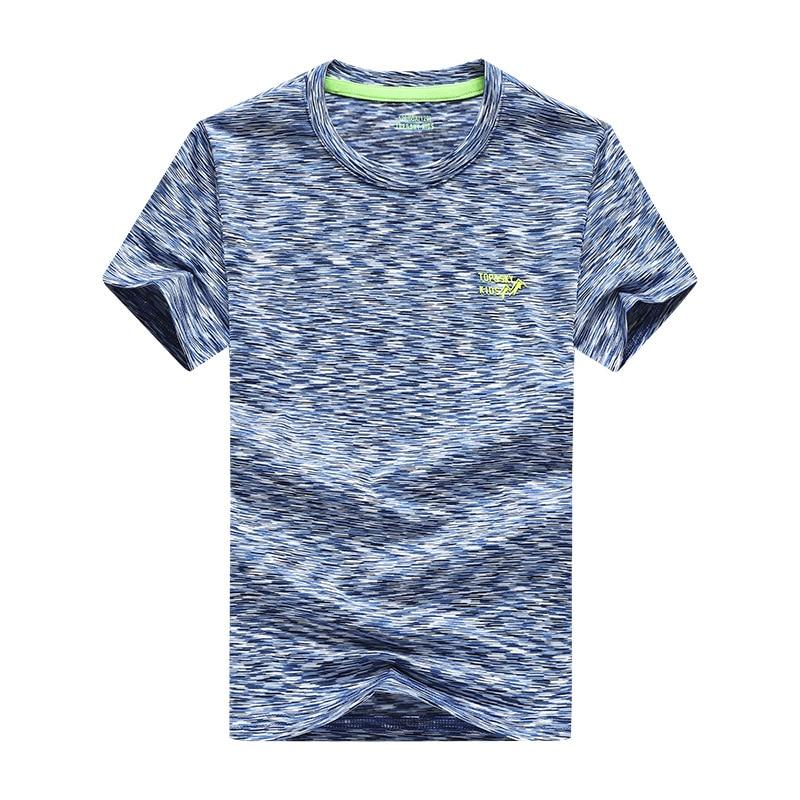 Fonction de sport d'été enfants top t-shirts en plein air séchage rapide élasticité hygroscopique Anti-UV coloré impression garçons T-shirts