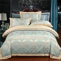 4PCS tencel silk bed linen set jacquard Embroidered luxury bedding sets/bedclothes queen king size duvet cover sheet set