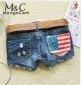 Fanala calções mulheres denim shorts moda verão buracos quente américa bandeira calça jeans zipper fly casual curto cruz