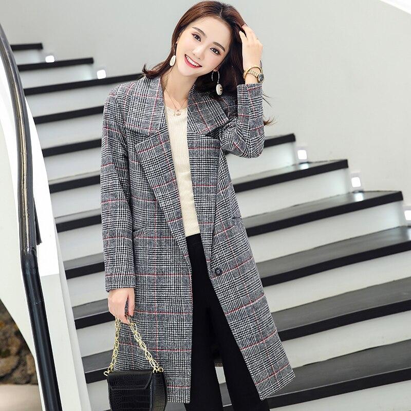 LYFZOUS New Women Plaid Woolen   Trench   Coats Female Fashion Slim Long Overcoat Plus Size Outerwear Windbreaker For Woman Spring
