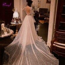 Fmogl vestido de noiva sexy com decote em v sem costas a linha vestido de casamento 2020 lindo voile tribunal trem princesa vestido de noiva plus size