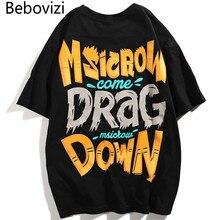 Bebovizi Men Graffiti Oversize Loose Tshirts Fashion Streetwear Style Print Short Sleeve T Shirts Hip Hop New Designer Tops Tees