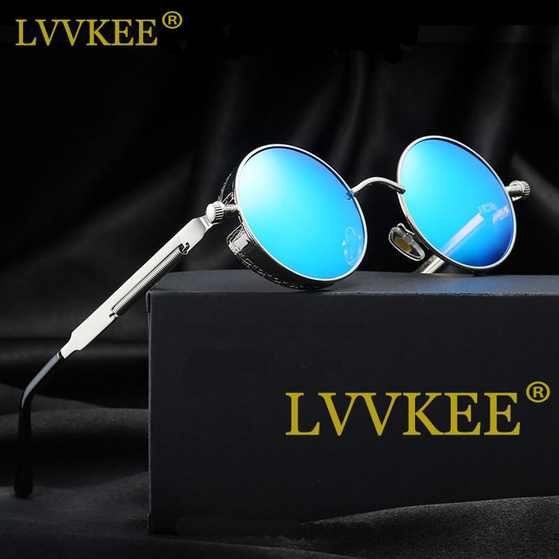 LVVKEE Brand Gothic Steampunk Solbriller Polariserede Mænd Kvinder Rund Metal Carving Sun Briller Coating Mirrored Glasses With Case