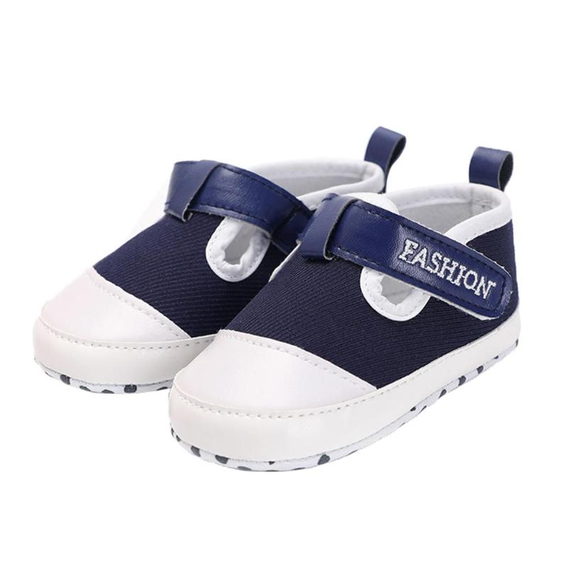Spring Summer Baby Shoes Boys Blue Soft Canvas Sneaker Anti-Skid Sticker First Walkers Toddler Prewalker