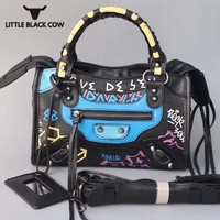 2019 New Luxury Graffiti Handbags Women Bags Designer Zipper Letter Pu Leather Totes Crossbody Bag High Capacity Shoulder Bag