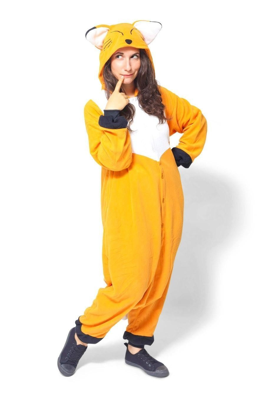 Unisex Fleece Adult Fox Onesies Animal Cosplay Costume Halloween Xmas Pajama