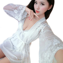 Sweet Sexy Lingerie Woman Lace Intimate Costume Transparent Bath Robe Nightwear for Female Charming Erotica Lenceria Lady CA667