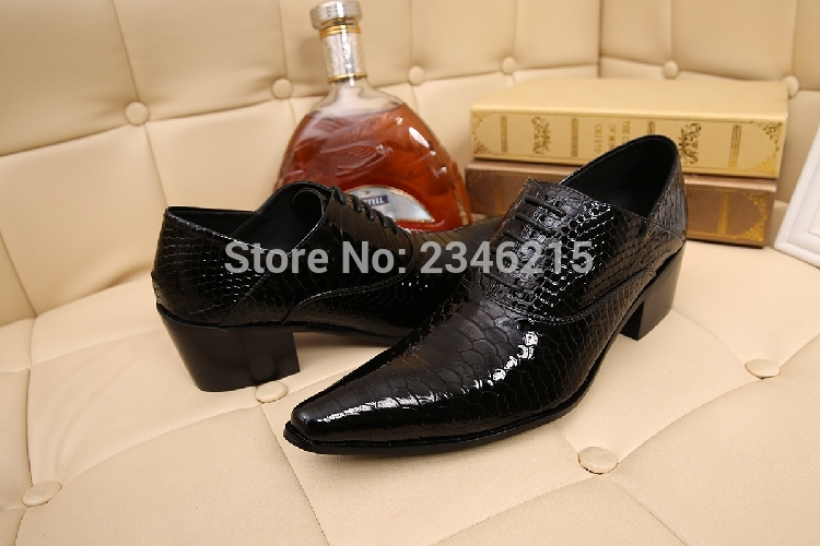 Chaussure Homme Alligator Shoes For Men Genuine Leather Mens Shoes High Heels Pointed Toe Classic Italian Shoes Brands Oxford
