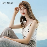 Nifty Neigo Harajuku Sexy Polka Dot Print Chiffon Sleeveless V Neck Women Summer Club Party Blouse