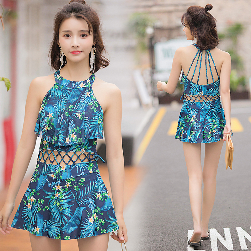 2018Swimwear Printing One Piece Swimsuit Swim Dress Padded Bathing Women's Swimming Suit Summer Beach Wear Skirt Retro Beachwear sbart women long sleeve rashguard one piece swimsuit shirt brief swimwear vintage bathing suit summer beach wear padded swimming