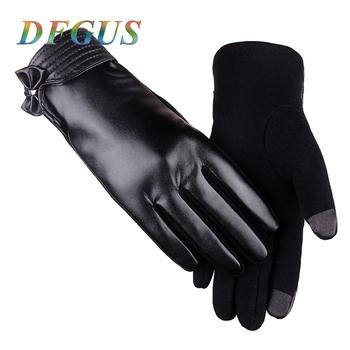 Nowa moda damska skórzane rękawiczki zimowe rękawiczki damskie ekran dotykowy zagęścić ciepłe termiczne rękawiczki rękawiczki damskie rękawiczki tanie i dobre opinie Kobiety PC066 Dla dorosłych Stałe Nadgarstek DFGUS Skóra syntetyczna One size 5 colors Winter