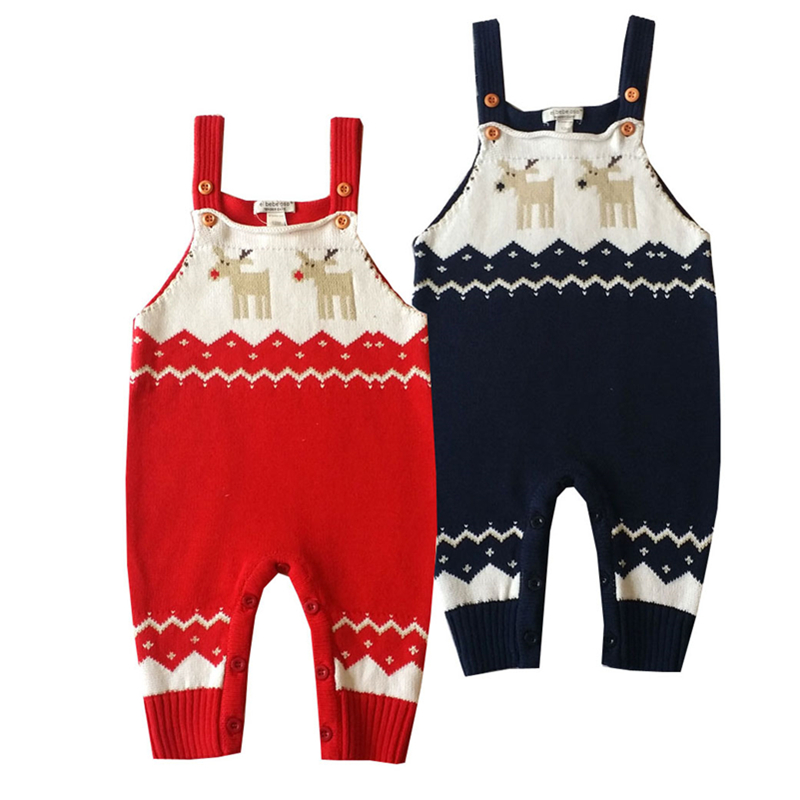 2017 New Winter Baby Rompers Overalls Jumpsuits Boys Girls Christmas Costume Kids Elk Pattern Cotton Knitted Bib Pants 0-2Y  new 2016 autumn winter rompers newborn baby clothes girls boys overalls kids knitted cotton christmas jumpsuits hats sets