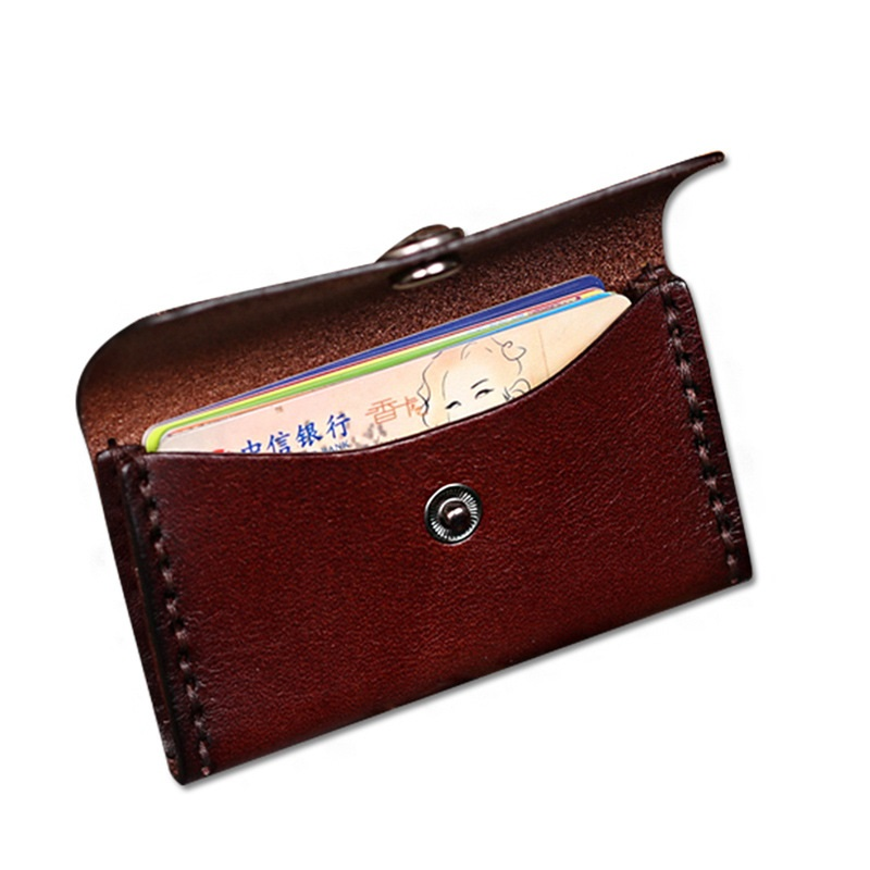 eacme handmade leather business card holder for money card bag name credit card case men card wallet hasp cowhider coin pocket in card id holders from - Leather Business Card Case