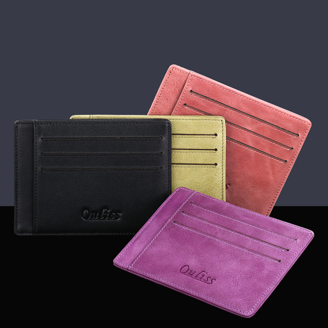 Women Business Card Holder Leather Ultra-thin Screens More Leather Credit Card Wallet Man Driver's License Card Wallet