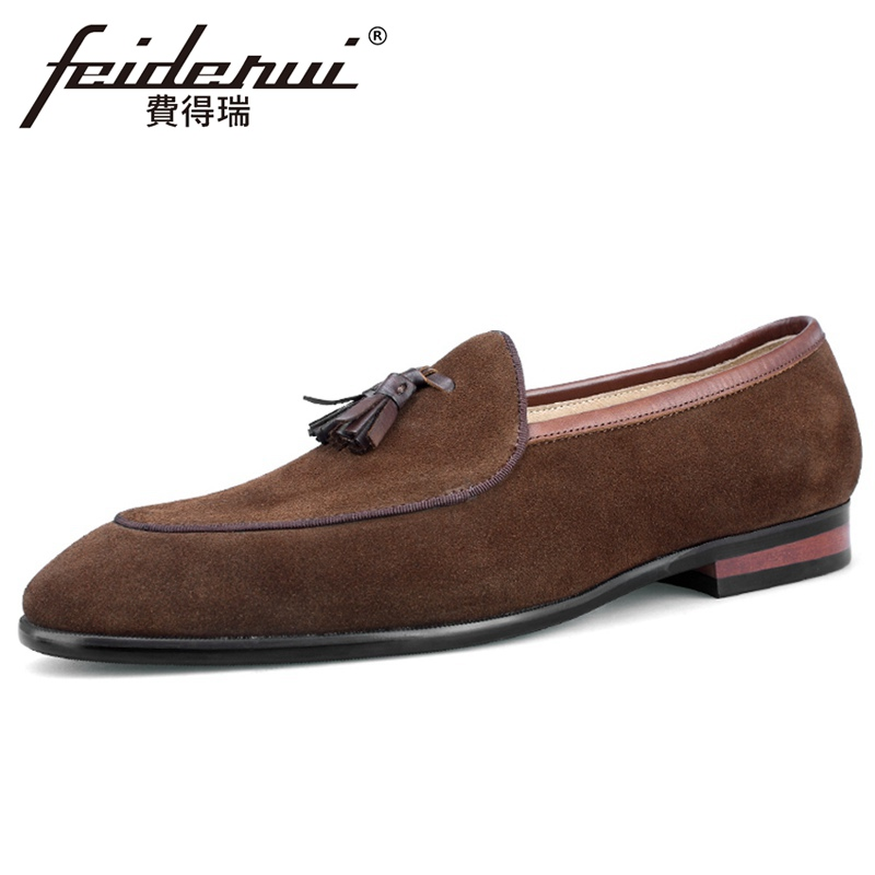 Fashion Genuine Leather Men's Handmade Comfortable Tassels Loafers Pointed Toe Slip on Heels Man Cow Suede Casual Shoes BQL154