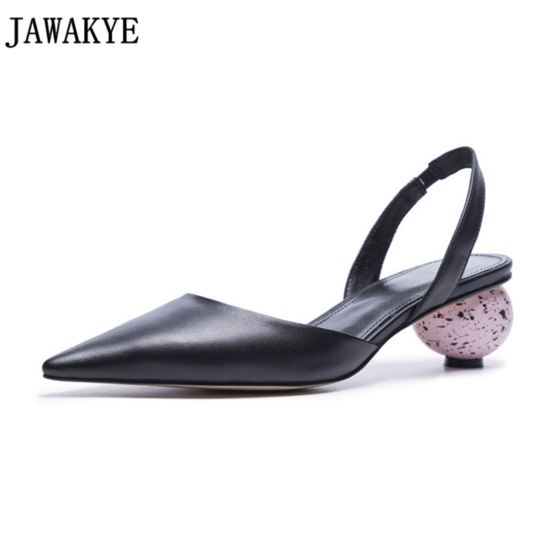 Runway genuine leather Pumps slingback round ball low Heels summer sandals for ladies 2018 newest Shoes