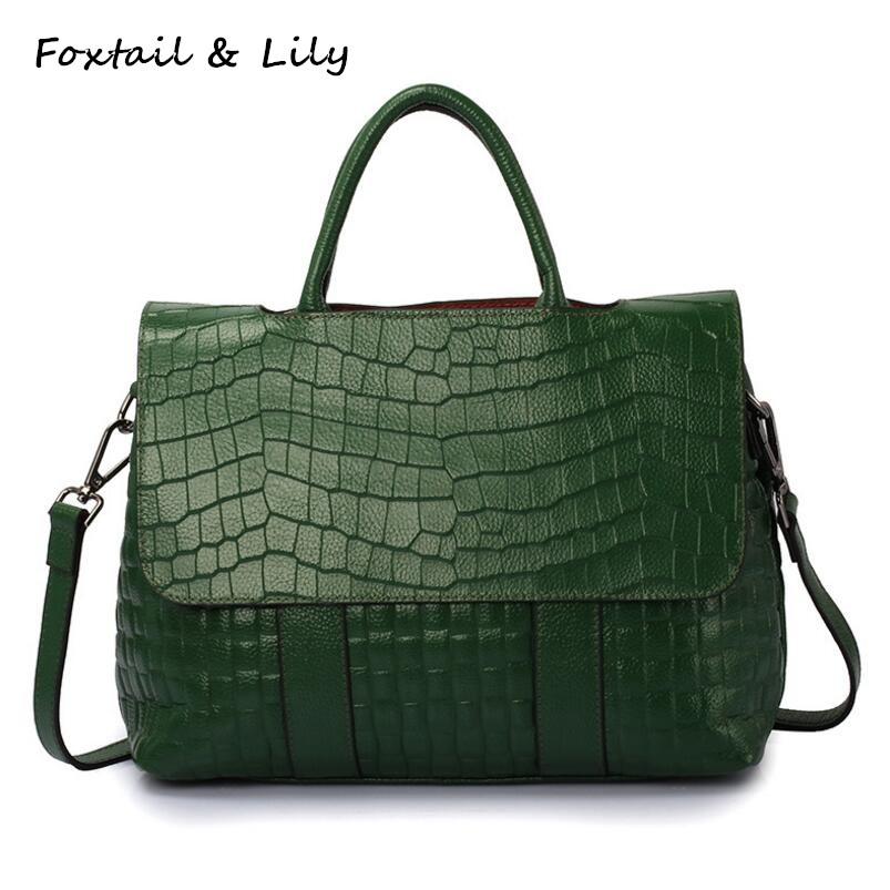 FoxTail & Lily Crocodile Pattern Women Cowhide Handbag Vintage Shoulder Bags Luxury Genuine Leather Ladies Tote Messenger Bags fashion style genuine leather bags women handbag with crocodile pattern leather tote bag tassel shoulder cowhide messenger bags